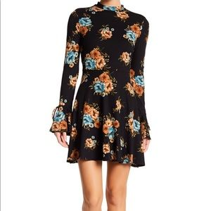 Socialite Fit & Flare Floral Bell Sleeve Dress.